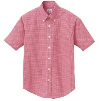アイトス(AITOZ) 半袖ギンガムチェックボタンダウンシャツ(男女兼用) 009/レッド AZ-7825 ワークウェア 作業着