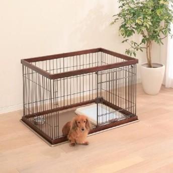 ペットケージ ドッグサークル 木製 トレー付 小型犬 アイリスオーヤマ