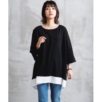 【ゆったりワンサイズ】裾重ね着風ゆるトップス (Tシャツ・カットソー)(レディース)T-shirts