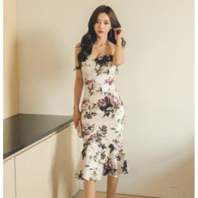 サマードレス セクシーなチューブトップ スリム花柄フィッシュテールスカート 上品 フェミニン ガーリー 大人かわいい