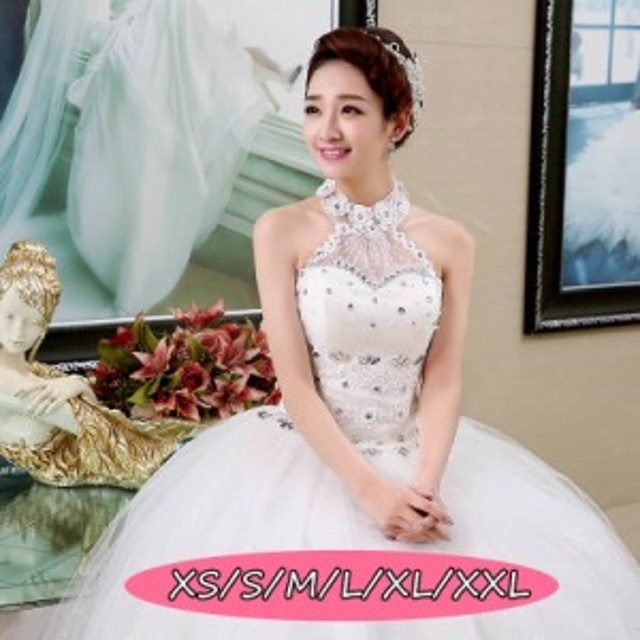 ウェディングドレス 結婚式 きれいめ 花嫁 ドレス 高級刺繍 花柄 ノースリーブ ロング丈ワンピ-ス Aラインワンピース 白ドレス