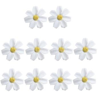 約50個 フラワーヘッド 人工造花 デイジー 可愛い 結婚式 ケーキデコレーション 装飾品 全12色 - 白