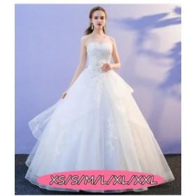結婚式ワンピース お嫁さん ウェディングドレス 花嫁 ドレス 上品 クオリティー ミドリフトップ ロング丈ワンピ-ス ホワイト色