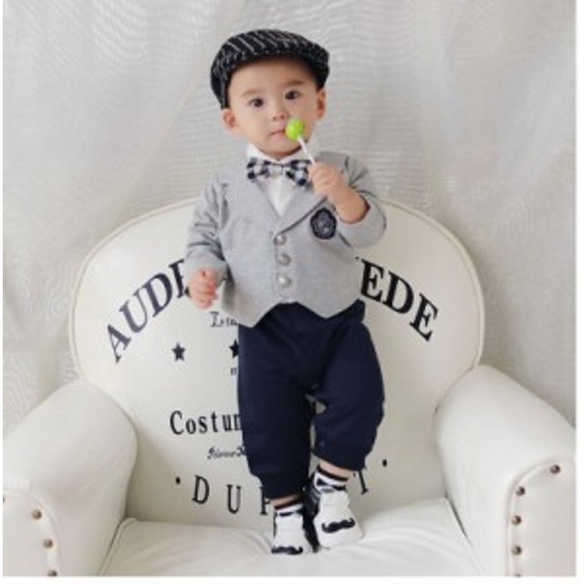 78be97b64437d 新生児服 ベビー 男の子 カバーオール フォーマル ベビー服 ロンパース 肌着 赤ちゃん タキシード 着ぐるみ 結婚式 ギフト 出産