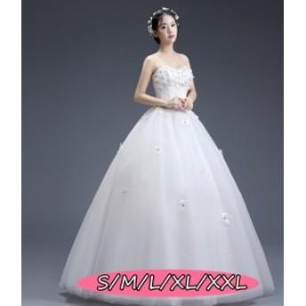 ウェディングドレス 結婚式ワンピース きれいめ 花嫁 ドレス 編み上げタイプ ミドリフトップ 上品レディース 着痩せ ホワイト色