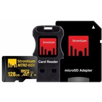 128GB microSDXCカード Strontium Nitro 466x R:70MB/s CLASS10 UHS-I USBカードリーダー&SDアダプタ付 海外リテール SRN128GTFU1C ◆メ