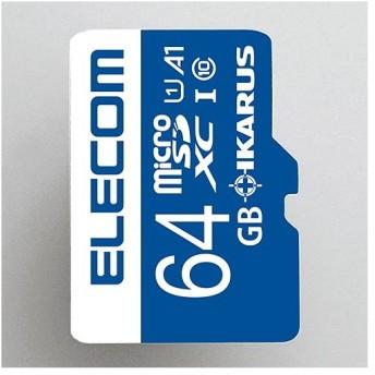 エレコム microSDXCカードClass10,UHS-I,U1,A1イカロス1年版ライセンス付 64GB┃MF-MS064GU11IKA