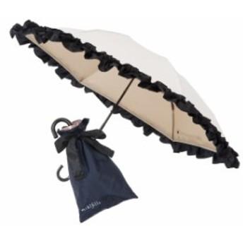 日傘 折りたたみ 晴雨兼用 レディース おしゃれ 夏 おリボンUVカット涼感折りたたみ日傘 オフホワイト