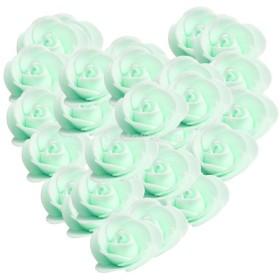 約100個セット 造花 薔薇 花嫁 パーティー 卒業式 誕生日 髪飾り 写真 DIY ガーランド 手首花作り 手工芸用 全13色選べ - 緑