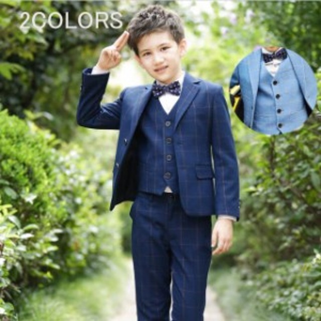efad0e747b937 男の子 スーツ 子供 フォーマルスーツ 4点セット ジャケット シャツ パンツ 蝶ネクタイ 発表会 結婚