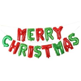 クリスマス 休日 装飾 アルミ箔製 Merry Christmas 風船 ハンギング オーナメント ロープ付