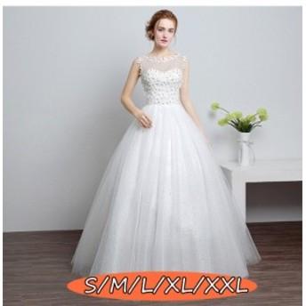ウェディングドレス 結婚式ワンピース 透け感レース 大人 上品 20代30代40代 ノースリーブ Aラインワンピース ホワイト色