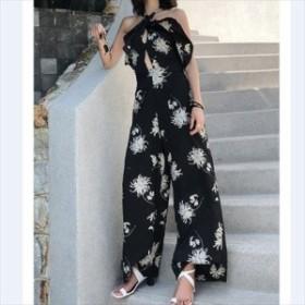 人気&売れ筋☆2018☆ ワイドパンツ セットアップ リゾート ホルダーネック 胸元フリル 花柄 レトロ
