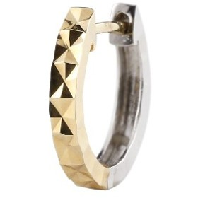【あす着】片耳ピアス フープピアス 中折れ式ピアス イエローゴールドk18 ホワイトゴールドk18 ダイヤカット レディース 宝石 送料無料