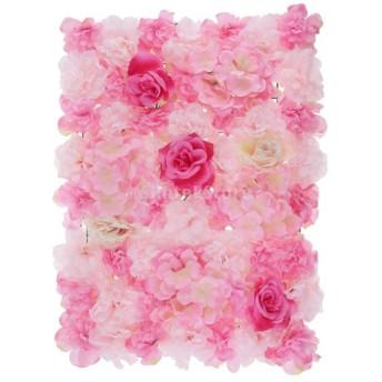 人工花の壁パネル フラワー 造花 バラの花 壁飾り 結婚式 会場 背景装飾 インテリア 全11タイプ選べる - #1