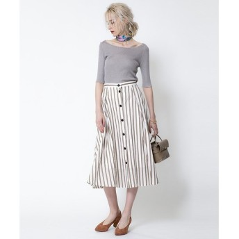 Rouge vif la cle / ルージュ・ヴィフ ラクレ 釦付きストライプタイトスカート
