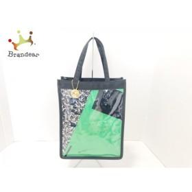 レオナール LEONARD トートバッグ 美品 黒×グリーン×アイボリー ナイロン×ビニール     スペシャル特価 20190115