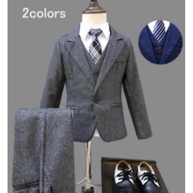 cc9539aca1706 子供スーツ 3点セット フォーマル 男の子 スーツ 発表会 入学式 入園式 キッズ 子供
