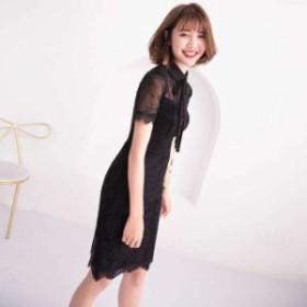 黒 袖あり スレンダーライン パーティードレス ワンピースドレス ワンピース ドレスワンピ タイトドレス お呼ばれドレス イブニングドレ