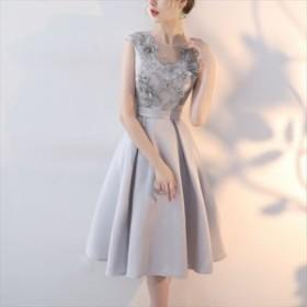 人気&トレンド 2018 ドレス ワンピース 刺繍 ビーズ ふんわり ノースリーブ パーティー 結婚式