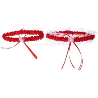 ウェディング ブライダル ガーター 新婦 花嫁 レースフリル ガーターリング ガーターベルト 2個セット 全14色 - 真っ赤