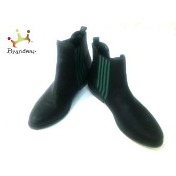 ジーナシス JEANASIS ショートブーツ L レディース 黒×グリーン サイドゴア 合皮×化学繊維 スペシャル特価 20190524