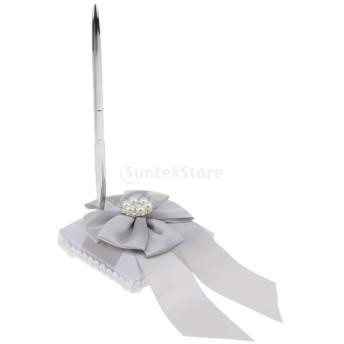 ペン ペンホルダー 結婚式 サテン リボン 署名ペン ゲスト用 装飾 可愛い