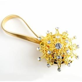 【お取り寄せ】カーテンタッセル 星モチーフ キラキラ マグネット式 2個セット (ゴールド)