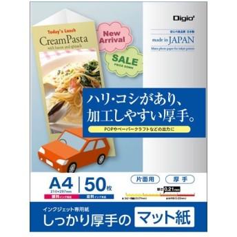 ナカバヤシ インクジェット用紙 しっかり厚手のマット紙 厚手 マット(ツヤ消し) 片面印刷用 A4 50枚 JPMH-A4S-50
