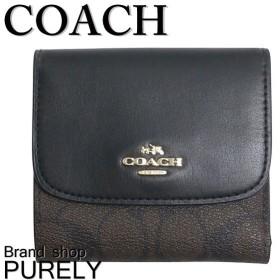 全品ポイント2倍 コーチ COACH 財布 レディース シグネチャー PVC スモール ウォレット 折り財布 F87589 IMAA8 ブラウン×ブラック