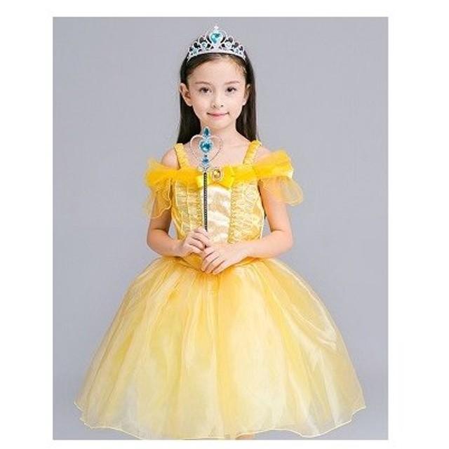 faa31847227df ベル ドレス 衣装 子供用プリンセスワンピース 2号色 110cm 美女と野獣 仮装 ハロウィン