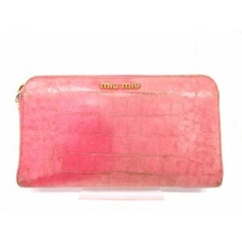 【中古】ミュウミュウ miumiu 長財布 クロコ型押し ラウンドジップ レザーロゴ ピンク /hn レディース