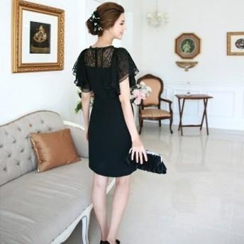 韓国ワンピース イブニングドレス シフォン 総レース ブラック 刺繍 大人 半袖