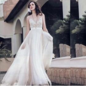 ウェデイングドレス Vネック ノースリーブ 素敵 刺繍花柄 パール 着痩せ チュール ロング丈 結婚式 花嫁 ブライダルドレス