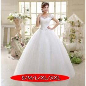 ウェディングドレス 結婚式ワンピース きれいめ 花嫁 ドレス Vネック ハイウエスト 体型カバー Aラインワンピース 白ドレス