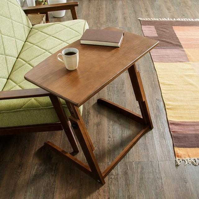 昇降式 サイドテーブル 高さ調節 昇降式 ベッドサイドテーブル パソコンデスク カフェテーブル 木製 ブラウン コンパクトデスク