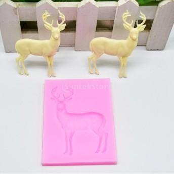 モールド ケーキ デザート チョコレート DIY 石鹸 全2色 高品質 シリコン トナカイ - ピンク