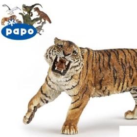【メール便可】PAPO パポ社 トラ(吠) ~ フランス、PAPOのWild Animalsシリーズ、野生の動物フィギュア。