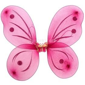 バタフライ ウイング 蝶の羽 フェアリーウイング 女の子 可愛い 写真小物 おもちゃ キッズコスチューム 全5色 - ローズ