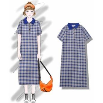 ワンピース ミモレ ゆったり ポロシャツ 半袖 チェック フレア ブルー コットン 綿 薄手 レトロ 夏用
