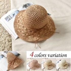 送料無料 麦わら帽子 レディース ストローハット 帽子 たためる ハット UV対策 日焼け防止 新作 オシャレ カンカン帽