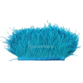 ダチョウの羽 フリンジ トリム 染め 1ヤード 飾り物 軽量 全31色 - ピーコックブルー