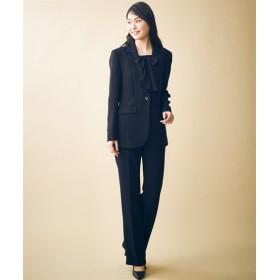 トールサイズ パンツスーツ(胸当て付ジャケット+ソフトブーツカットパンツ)(選べる2レングス) 【高身長・長身】(ブラックフォーマル),tall
