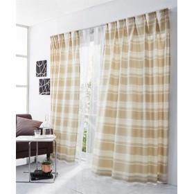 【送料無料!】立体感のある刺しゅうボーダー柄カーテン ドレープカーテン(遮光あり・なし) Curtains, 窗, 窗簾