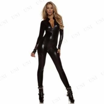 !! メタリックキャットスーツ ブラック S/M 仮装 衣装 コスプレ ハロウィン 余興 大人用 コスチューム 女性 キャットウーマン キャットス