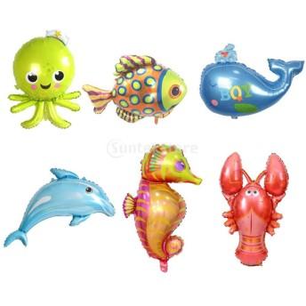 風船 バルーン 海の動物 ドルフィン タコ 魚 カラフル 飾り付け 子供誕生日 テーマパーティー 装飾 6個セット