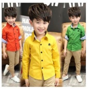 子供シャツ 男の子 キッズ 子ども服 長袖 オレンジ カッターシャツ 黄色 緑色 カジュアル 100 110 120 130 140 メール便可能