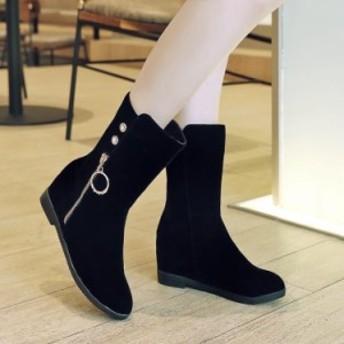 レディース 美脚着痩せ 上品質 履きやすい ブーツ 大人気 内が高くなる 大きなコード レジャー ブーツ 冬08071