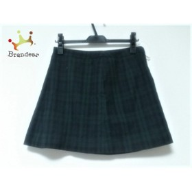 クリアインプレッション スカート サイズ2 M レディース 美品 ダークグリーン×ダークネイビー               スペシャル特価 20190802