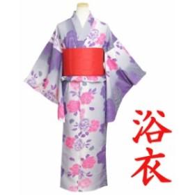 浴衣 ガールズ 女の子 浴衣セット リボンつくり帯 腰紐付き 2点セット 和装 吸水速乾 子供用